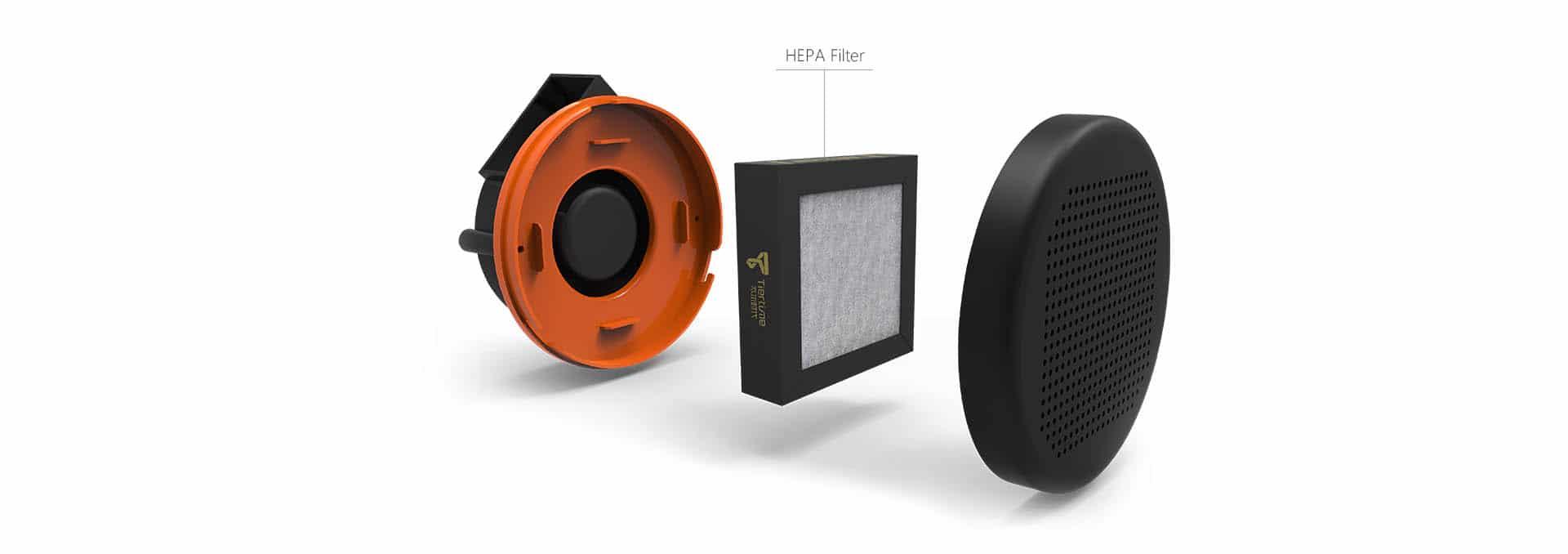 smart HEPA filtration system for safer 3D printing, includes active carbon filter