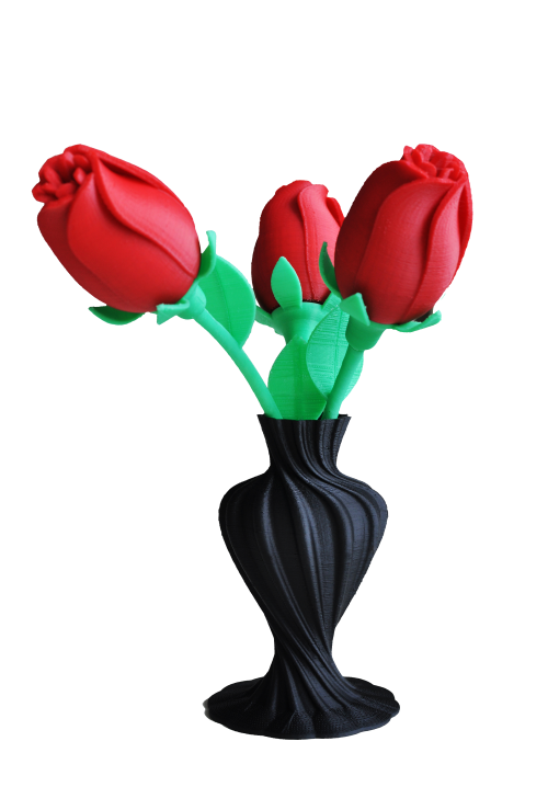 Beautiful and colourful 3D printed rose with vase, printed with UP printers